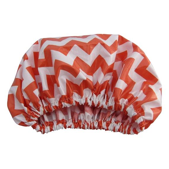 Soda Orange Chevron Shower Cap Shower Hat Xl Size For
