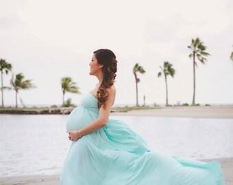Embrace Jersey Maternity Gown / Dress, Photo Prop, Aqua