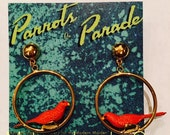 Retro Novelty Parrot Bird Hoop Earrings, Parrots on Parade, Jewelry Gift