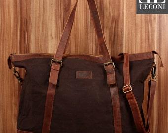 LECONI Weekender travel bag of shopper shoulder bag ladies mens leather of canvas Mocha LE2013-C