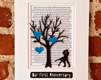 "Personalized First Anniversary Gift, ""Our First Anniversary"" Paper Anniversary Gift, One Year Anniversary Gifts for Wives or Husbands"