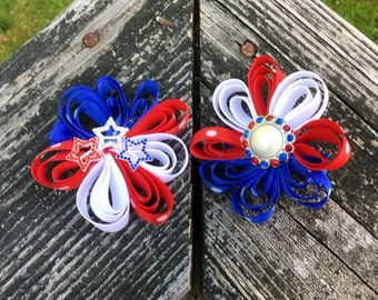 Red,White And Blue Patriotic Sculpted Flower Bow Clip With Bling. Red/White/Blue/Patriotic/Stars/Pearl Center