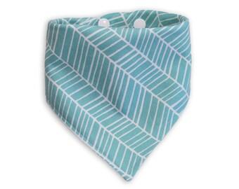 Baby Bandana Bibs - Organic Bamboo Dribble Bib (Aqua Blue Herringbone)