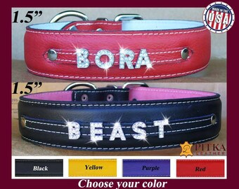 Bling Dog Collars - Extra Large Dog Collars with Name in Rhinestone Letters - Personalized Leather Dog Collars - Rhinestone Name Collars