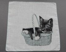 A Kitten in the Basket - Vintage Swiss Cotton Hankie Handkerchief