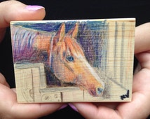 ACEO Original colored pencil drawing of horse on wood - Custom pet potraits