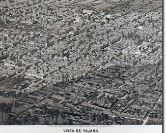 Reproduction of a Vintage Map of Mexico City from 1890 - Fantastic Photo Poster Print - Old Archive Cartography