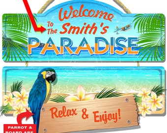 Personalized Paradise Welcome 3-D Hardboard Wall Sign