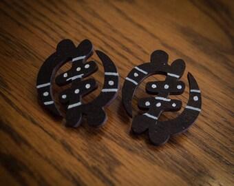 Mudcloth Print Gye Nyame Wood Earrings