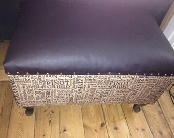 Upcycled Leather and hessian chest/storage box/ottoman