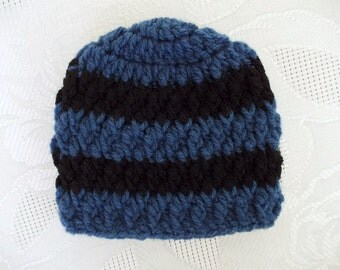 Crochet baby hat Blue and black baby hat Baby boy hat Crochet newborn hat Striped boy hat Newborn winter hat Boy hospital hat