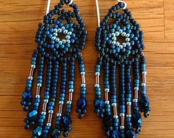 Beautifully Handcrafted Small Mandala Seed Bead Earrings-Midnight Blue