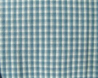 3.8 yds Blue plaid fabric vintage cotton woven curtain pillow dress