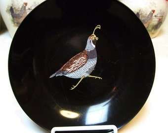 Vintage Couroc Monterey California Valley Quail Dish Saucer Plate Satin Black Phenolic Inlaid Shell Wood Metal Original Sticker 1960's Rare