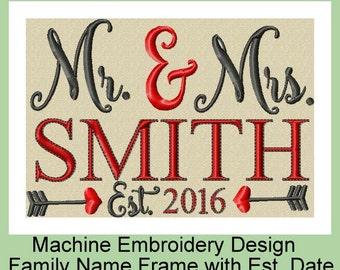 Machine Embroidery Design - Mr. & Mrs. Family Name Frame with Date
