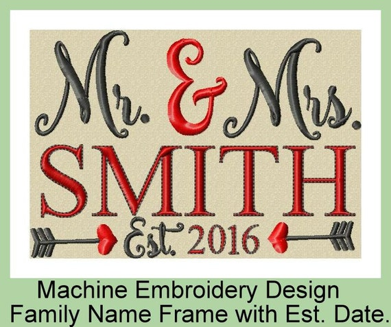 Machine embroidery design mr mrs family by