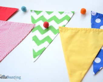 Circus Bunting, Carnival theme party decorations, carnival birthday party, baby birthday, fabric bunting photo prop, stripes, spots, chevron