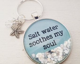 Salt water soothes my soul personalized keychain, beach theme keychain, starfish keychain, sparkle keychain, beach lover gift