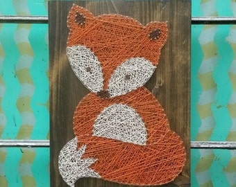 Nail and string art etsy string art fox woodland nursery art nail and string art wood fox wall prinsesfo Images