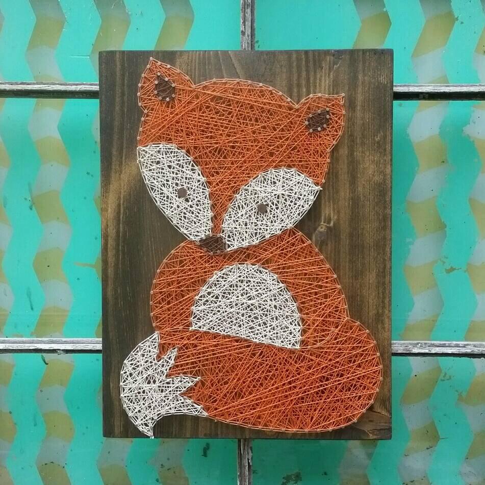 Nail And String Art: String Art Fox Woodland Nursery Art Nail And String Art