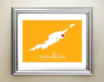 Anguilla Custom Horizontal Heart Map Art - Personalized names, wedding gift, engagement, anniversary date