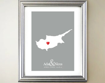 Cyprus Custom Vertical Heart Map Art - Personalized names, wedding gift, engagement, anniversary date