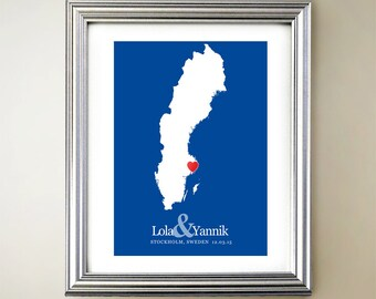 Sweden Custom Vertical Heart Map Art - Personalized names, wedding gift, engagement, anniversary date