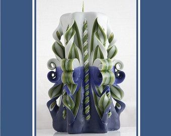 Carved Candles - Blue candle - Green candle - Gift