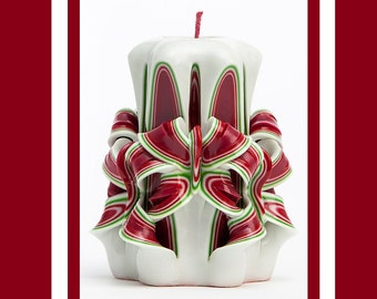 Christmas candles - Carved candles - Red candles - Christmas gift