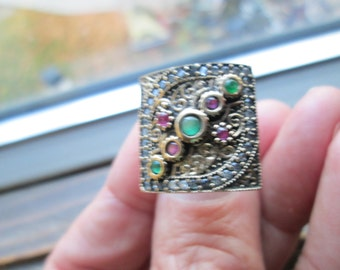 Inspired Art Deco Rose Gold/925 Sterling Silver .50ctw Emerald, Ruby and White Sapphire Ring Size 6,  8 Grams
