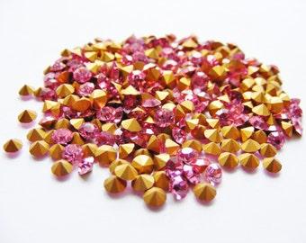 Rose Pink Vintage Swarovski Crystal Rhinestones Chatons x 50 / Various PP Sizes / Jewellery Making / Crafts / Wholesale