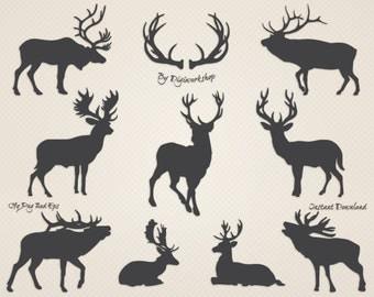"Deer clipart ""Silhouettes of Deer"" clip art contains dark and light silhouettes of deer, christmas deer"