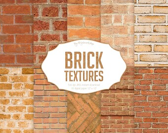 """Brick Digital Paper: """"Brick Textures"""" with digital brick textures and printable brick backgrounds in brown, red and terracotta colors"""