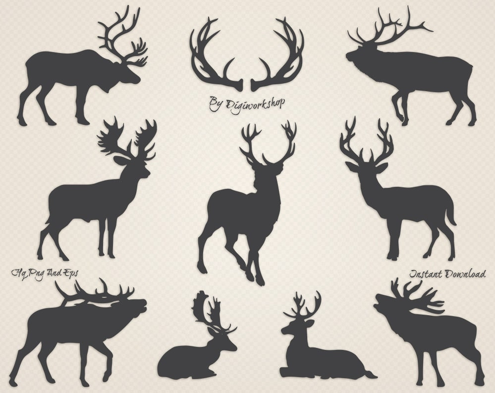 Deer clipart Silhouettes of Deer clip art contains dark and