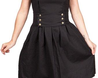 robe vintage volantée en satin de coton noir ornée d'un ruban en dentelle et satin