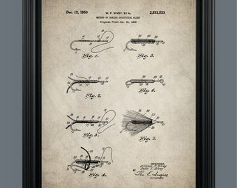 Vintage Fly Fishing Patent Poster Print - Patent Print Wall Art - Patent Poster - #057