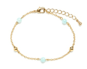 Fine gold bracelet with brass and amazonite beads / Stacking bracelets / 24 carats fine gold chain / New collection