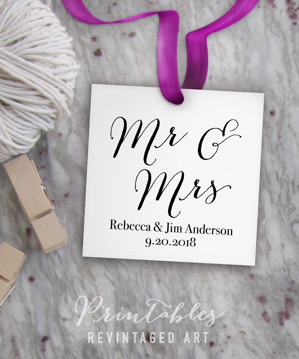 mr mrs tags printable editable wedding tag template wedding gift tags diy digital pdf. Black Bedroom Furniture Sets. Home Design Ideas