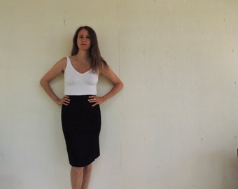black elstic waist pencil skirt