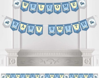 Train - Bunting Banner - Personalized Baby Shower or Birthday Party Decorations