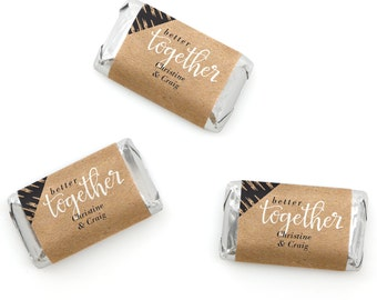 Better Together Mini Candy Bar Wrappers - Personalized Bridal Shower Hershey® Miniature Candy Bar Sticker Labels - Better - 20 Ct