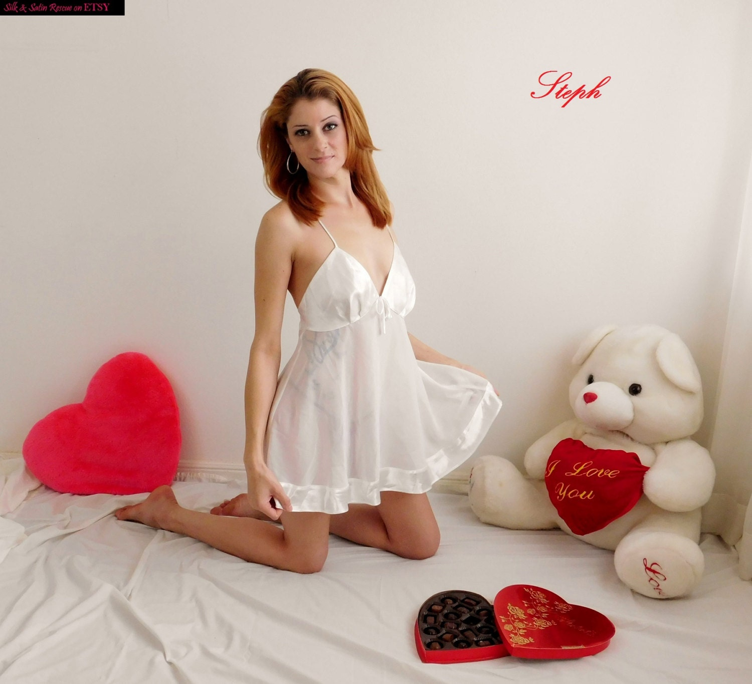 Cute White Satin And Sheer Chiffon Babydoll Nighty Nightie