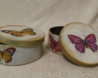 handmade metal gift box,flowers, butterfly, spring,decoupage,oval, gift,vintage, style,art,fantasy