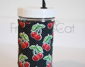 Large Mason Jar Tumbler with Sleeve. 24oz Glass Reusable Tumbler. Wide Mouth. Cherries & Dots. Black and White. Iced Coffee.