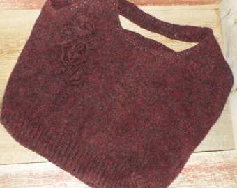 Felted Wool Tote~Handsewn from a recycled sweater