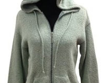 Margaret O'Leary Pastel Green Slub Knit Hoodie Sweater Jacket Size 1 (XS/S)