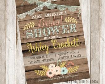 Bridal Shower Invitation, Flowers, Wood, Bride to be, Invitation, Shower, Bride, Wedding, DIGITAL FILE ONLY