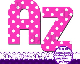 Pink Polka Dot - Digital Alphabet Clip Art Set - Scrapbook Letters, Numbers and Symbols - Instant Download