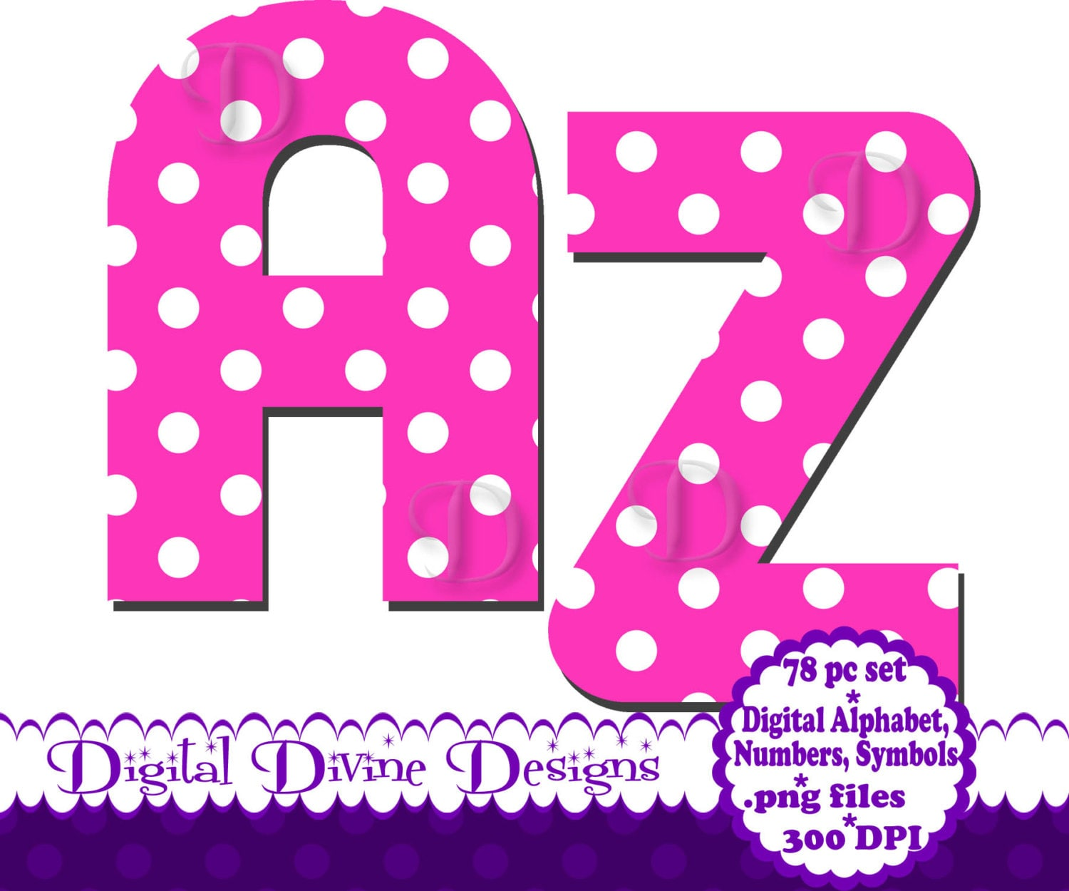 Pink Polka Dot Digital Alphabet Clip Art Set Scrapbook
