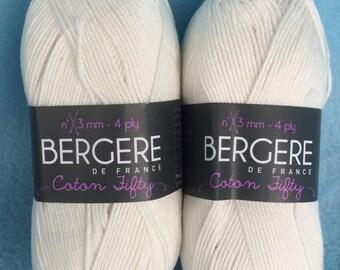 Coton 50, Cotton Yarn, Acrylic Yarn, Baby Yarn, Hand Knitting Yarn, High Fashion Yarn by Bergere De France, Nougat, Off White, Washable